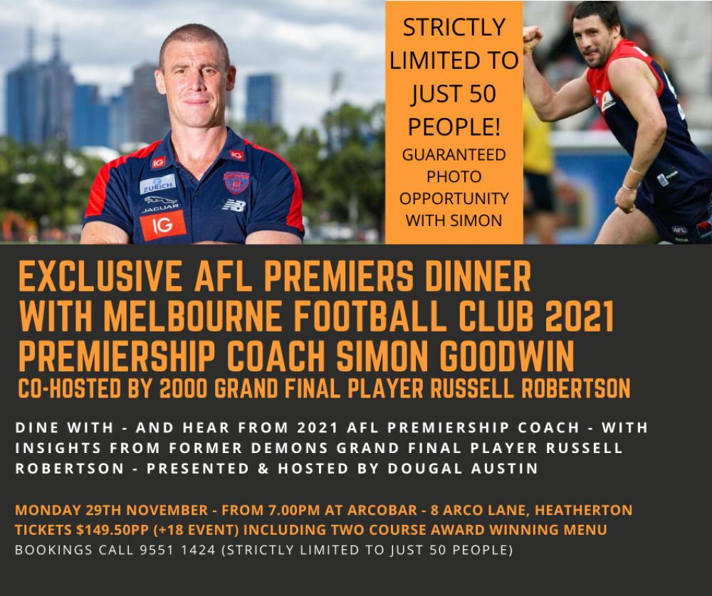 Melbourne Football Club Premiers Dinner With Premiership Winning Coach Simon Goodwin