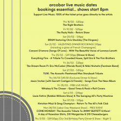 LATEST ARTIST & LIVE MUSIC DATES (from 17/02 to 20/03)