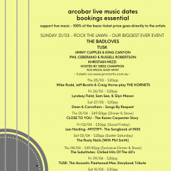 LATEST ARTIST & LIVE MUSIC DATES (21/3 to 17/04)