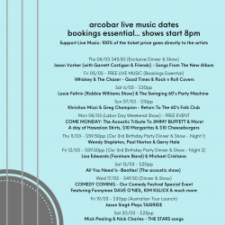 LATEST ARTIST & LIVE MUSIC DATES (04/03 TO 21/03)