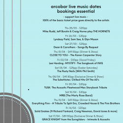 LATEST ARTIST & LIVE MUSIC DATES (25/3 to 29/04)