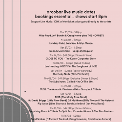 LATEST ARTIST & LIVE MUSIC DATES (25/03 to 24/04)