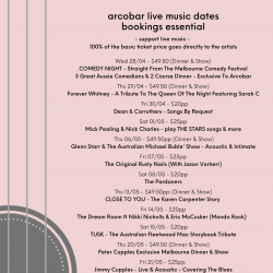 LATEST ARTIST & LIVE MUSIC DATES (28/04 TO 29/05)