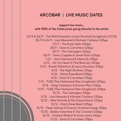 ARTIST & LIVE MUSIC DATES NOVEMBER & DECEMBER